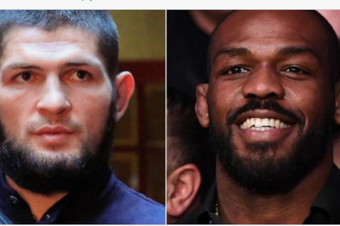Petarung UFC, Khabib Nurmagomedov (kiri) dan Jon Jones (kanan).