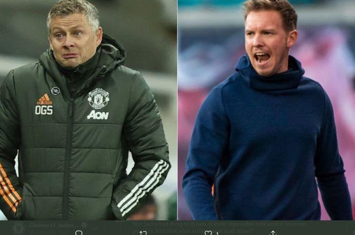 Duel perdana antara Ole Gunnar Solskjaer dan Julian Nagelsmann pada laga Manchester United kontra RB Leipzig di fase grup Liga Champions bakal berlangsung di Old Trafford, Rabu (28/10/2020) atau Kamis dini hari WIB.