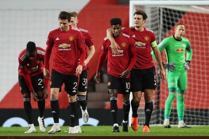 Momen kemenangan telak 5-0 Manchester United atas RB Leipzig pada matchday kedua Grup H Liga Champions 2020-2021 yang diwarnai hat-trick Marcus Rashford yang berangkat dari bangku cadangan.