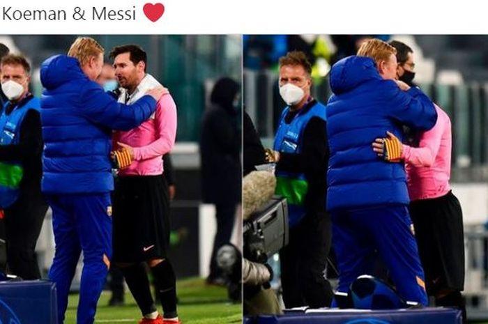 Pelatih Barcelona, Ronald Koeman, berpelukan dengan Lionel Messi seusai laga Grup G Liga Champions kontra Juventus di Juventus Stadium, Rabu (28/10/2020).