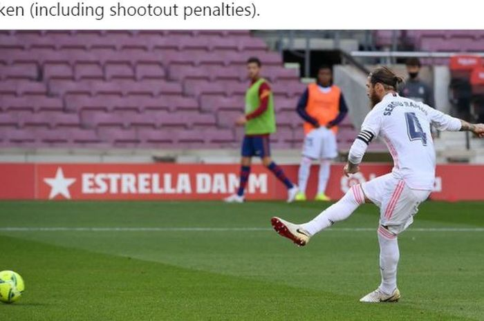 Bek Real Madrid, Sergio Ramos, mengeksekusi penalti.