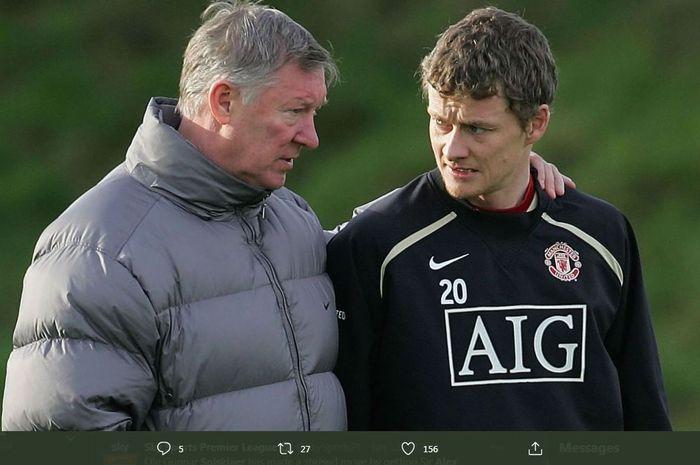 Ole Gunnar Solskjaer saat masih dilatih Sir Alex Ferguson di Manchester United.