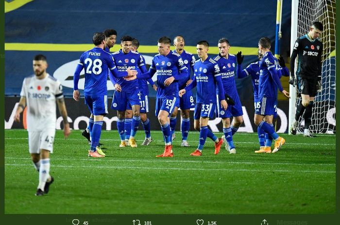 Leicester City mengalahkan Leeds United dalam partai pekan ke-7 Liga Inggris, 2 November 2020.