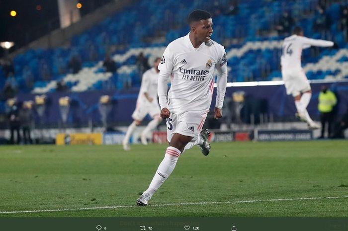 Penyerang Real Madrid, Rodrygo Goes, merayakan golnya ke gawang Inter Milan dalam pertandingan Selasa (3/11/2020).