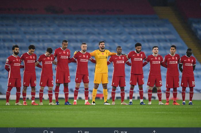 Skuad Liverpool kala melawat ke Stadion Etihad guna menghadapi Manchester City dalam lanjutan Liga Inggris 2020-2021, Minggu (8/11/2020).