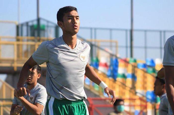 timnas U-19 Indonesia, Muhammad Fadhil Adhitya Aksah sedang menjalani latihan