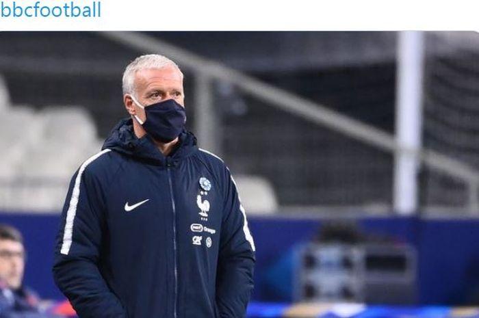 Pelatih timnas Prancis, Didier Deschamps, dalam laga uji coba kontra timnas Finlandia di Stade de France, Rabu (11/11/2020).