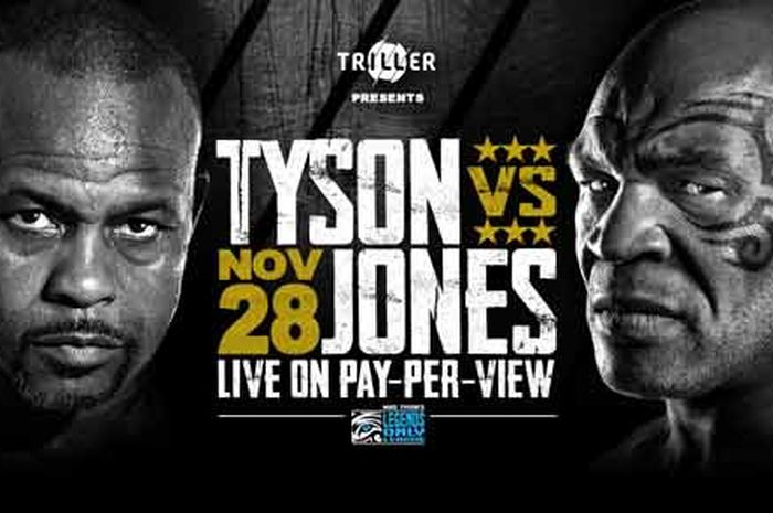 Poster pertandingan tinju Mike Tyson vs Roy Jones Jr.