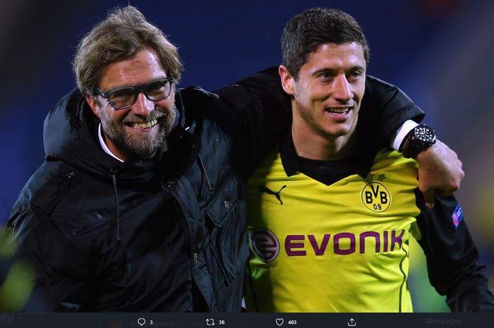 Pelatih Liverpool, Juergen Klopp, disebut menjadi satu sosok yang membuat karier Robert Lewandowski meroket.