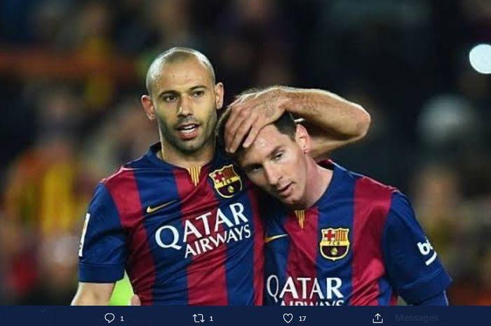 Lionel Messi dan Javier Mascherano saat membela Barcelona.