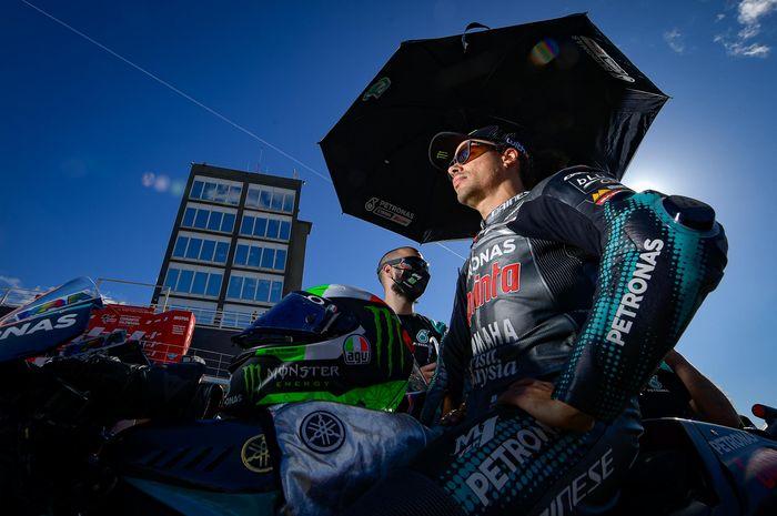Pembalap Petronas Yamaha SRT, Franco Morbidelli, pada balapan GP Valencia di Sirkuit Ricardo Tormi, Minggu (15/11/2020).