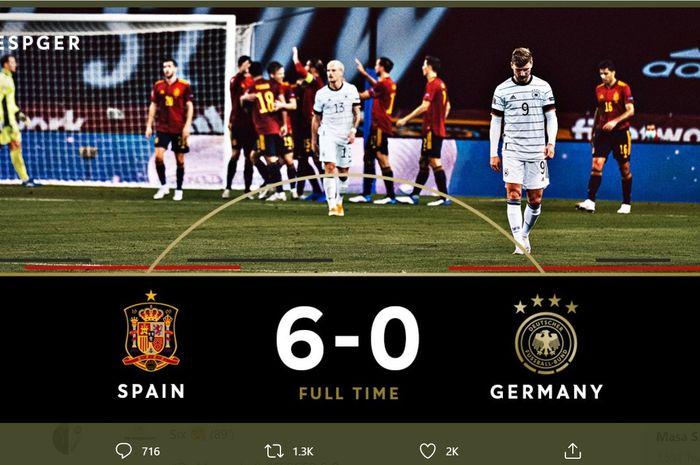 Jerman mengalami kekalahan terbesarnya dalam laga kompetitif setelah dipukul Spanyol 0-6 di UEFA Nations League, Selasa (17/11/2020) di Seville.