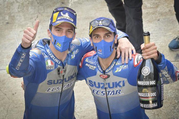 Joan Mir (kiri) sebut Alex Rins (kanan) jadi rival terberatnya selama berkarir di ajang MotoGP 2020.