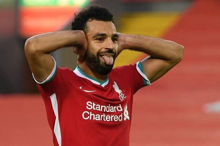 Perayaan gol Mohamed Salah setelah mencatatkan hat-trick pada laga Liverpool kontra Leeds.