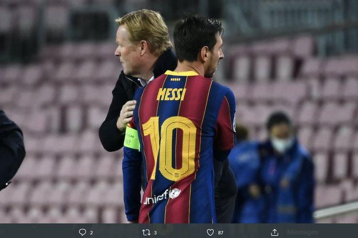 Lionel Messi dan pelatih Barcelona, Ronald Koeman.