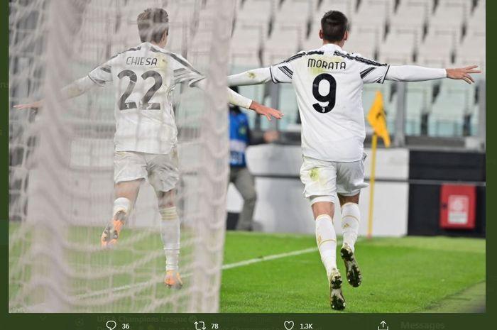 Alvaro Morata menentukan kemenangan Juventus atas Ferencvaros di Liga Champions, 24 November 2020.