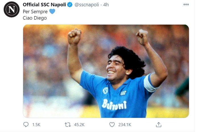 Diego Maradona Meninggal Dunia Napoli Tidak Punya Kata Kata Bolasport Com