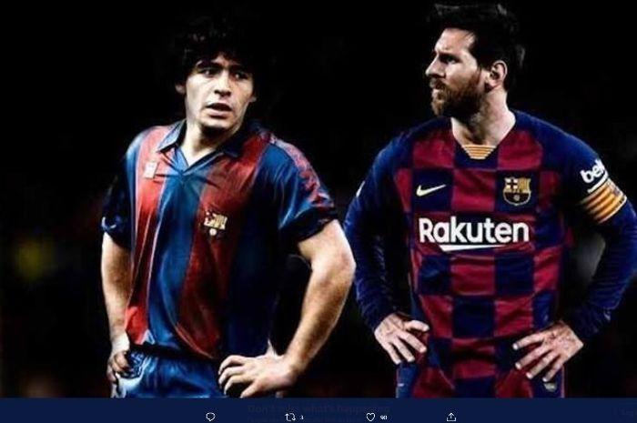 Ilustrasi Diego Maradona dan Lionel Messi di Barcelona.