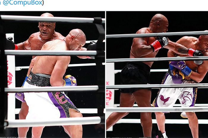 Cuplikan aksi Mike Tyson (celana hitam) dan Roy Jones Jr. dalam pertandingan ekshibisi di Staples Center, California, Amerika Serikat, 28 November 2020.