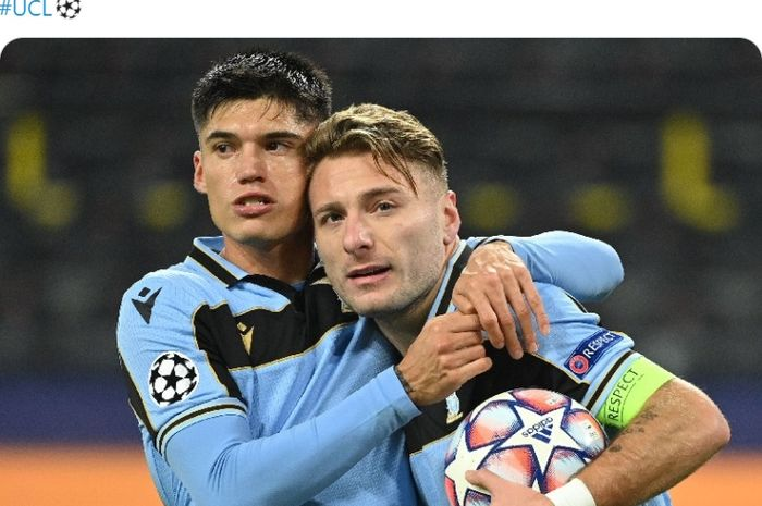 Ciro Immobile mencetak gol untuk menyamakan skor 1-1 dalam laga Borussia Dortmund vs Lazio di Liga Champions, Kamis (3/12/2020) dini hari WIB di Signal Iduna Park.