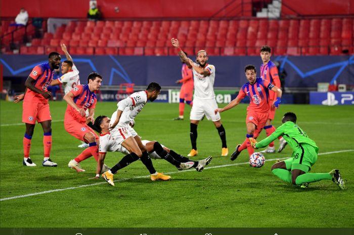 Kemelut gawang yang terjadi pada laga Sevilla kontra Chelsea dalam matchday kelima Grup E yang berlangsung di Stadion Ramon Sanchez Pizjuan, Rabu (2/12/2020) atau Kamis dini hari WIB.
