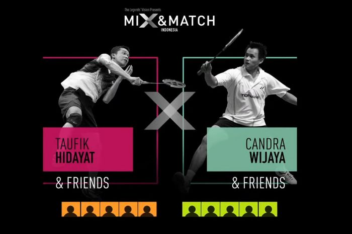 Poster pertandingan ekshibisi Mix and Match Badminton Challenge di Indonesia pada 11 Desember 2020.