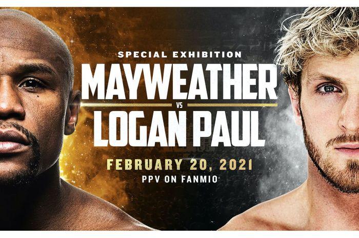 Poster laga ekshibisi tinju Floyd Mayweather vs Logan Paul.