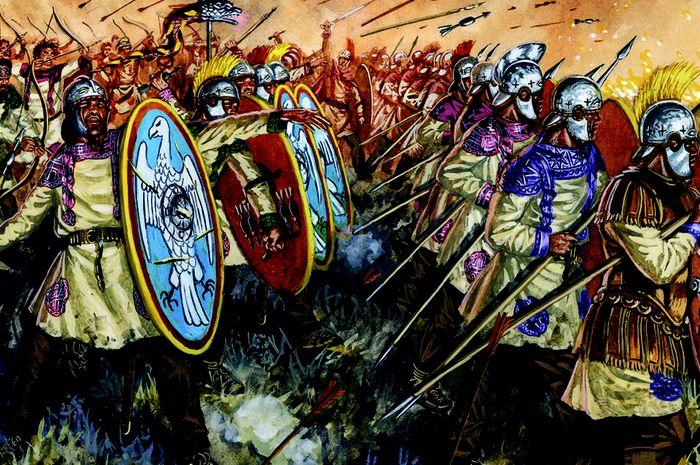 Lukisan para prajurit Romawi dalam pertempuran Adrianopel (kini Edirne, Turki) karya Rava, Giuseppe