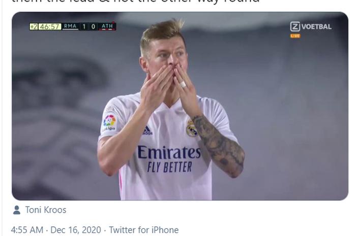 Gelandang Real Madrid, Toni Kroos, menjadi pemain paling akurat.