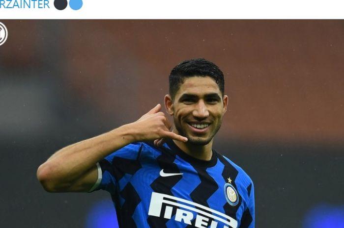 Achraf Hakimi setelah mencetak gol dalam laga Inter Milan vs Spezia di pekan ke-13 Liga Italia, Minggu (20/12/2020) di Giuseppe Meazza.