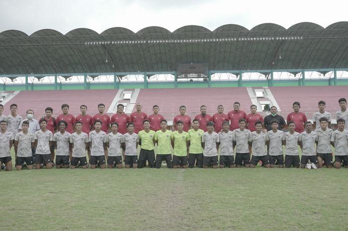 Timnas U-16 Indonesia setelah selesai menjalani pemusatan latihan (TC) di Stadion Maguwoharjo, Sleman, Yogyakarta, Selasa (22/12/2020).