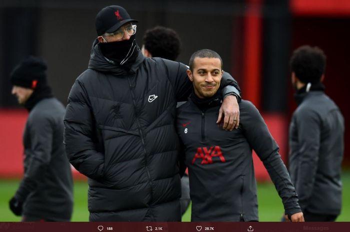 Thiago Alcantara sudah kembali berlatih bersama skuad utama Liverpool.