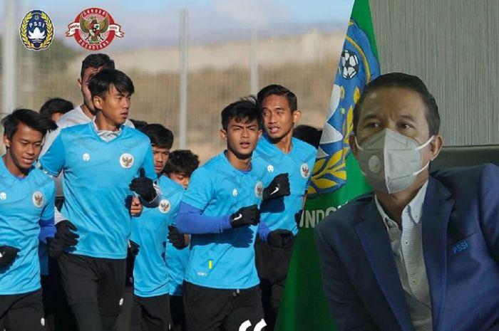 Para pemain Timnas U-19 Indonesia terus berlatih sambil menunggu  kepastian lawan uji coba dalam TC di Spanyol, sebagaimana disebutkan Plt Sekjen PSSI Yunus Nusi (kanan).