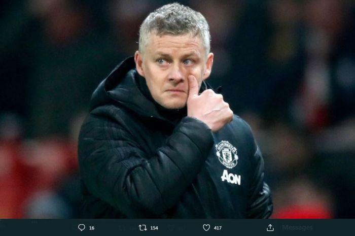 Reaksi pelatih Manchester United, Ole Gunnar Solskjaer.