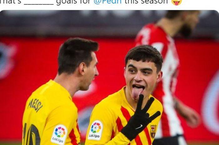 Gelandang Barcelona, Pedri, merayakan gol yang dicetak ke gawang Athletic Bilbao dalam laga Liga Spanyol di Stadion San Mames, Rabu (6/1/2020).