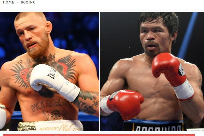 Kolase foto bintang UFC, Conor McGregor (kiri), dan legenda tinju, Manny Pacquiao (kanan).
