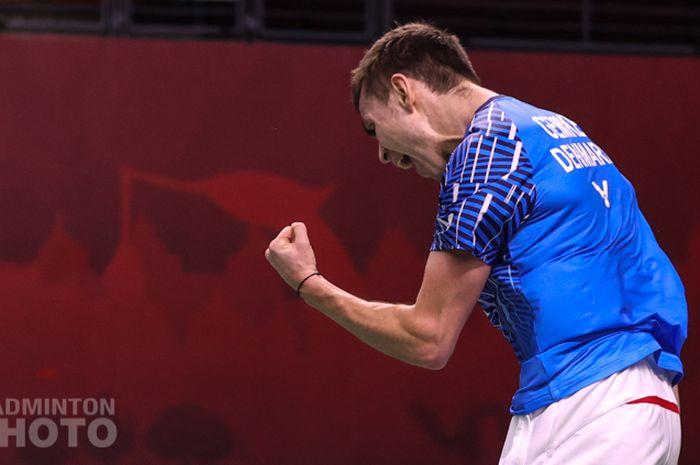 Tunggal putra Denmark, Rasmus Gemke saat tampil pada babak kedua Thailand Open I 2021, Kamis (14/1/2021)