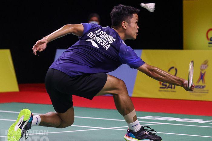 Aksi Anthony Sinisuka Ginting pada babak perempat final Thailand Open I 2021, Jumat (15/1/2021)