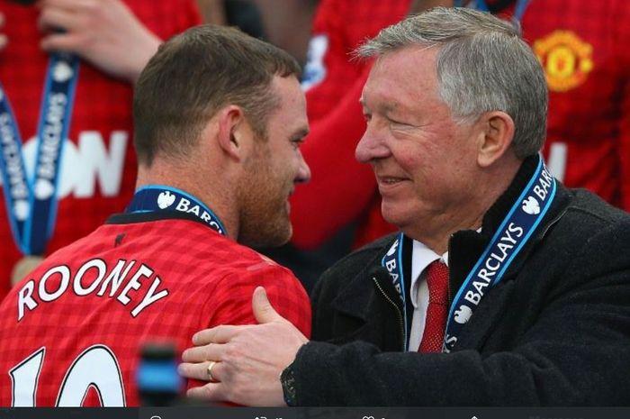 Wayne Rooney dan Sir Alex Ferguson saat masih sama-sama membela Manchester United.