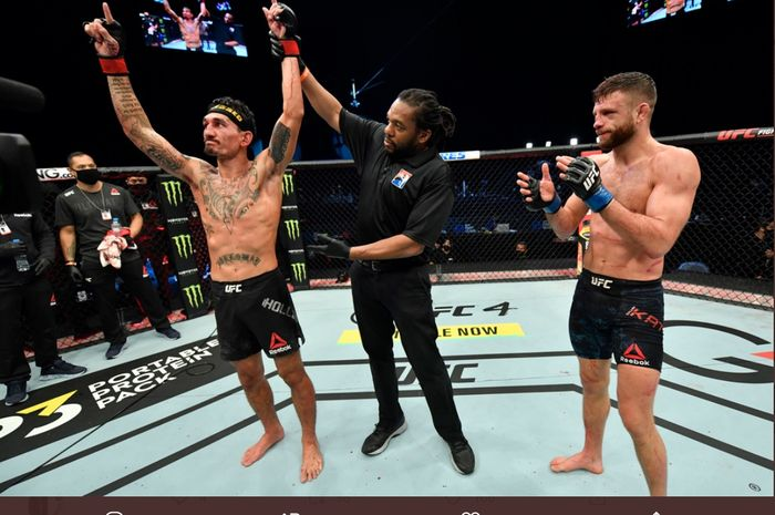 Max Holloway, menang telak atas Calvin Kattar di UFC Fight Island 7, Minggu (17/1/2021) dini hari WIB di Abu Dhabi.