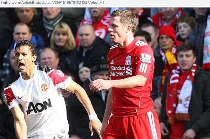Tekel brutal bek Liverpool, Jamie Carragher, membuat winger Manchester United, Nani, menangis. Kisah itu terus menjadi perbincangan sampai sekarang.