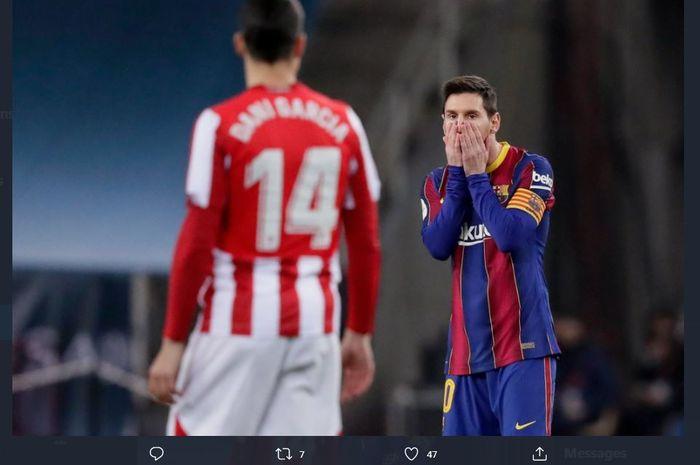 Lionel Messi kena kartu merah dalam partai final Piala Super Spanyol antara Barcelona vs Athletic Bilbao, 17 Januari 2021.