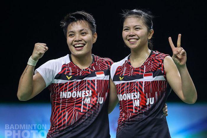 Duet Greysia Polii/Apriyani Rahayu sukses menjuarai Thailand Open 2021 sektor ganda putri usai mengalahkan wakil tuan rumah, Jongkolphan Kititharakul/Rawinda Prajongjai, Minggu (17/1/2021).