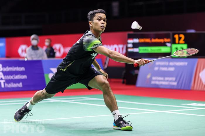 Pemain tunggal putra Indonesia, Anthony Sinisuka Ginting, ketika tampil pada babak kesatu Thailand Open II 2021 di Impact Arena, Bangkok, Selasa (19/1/2021).