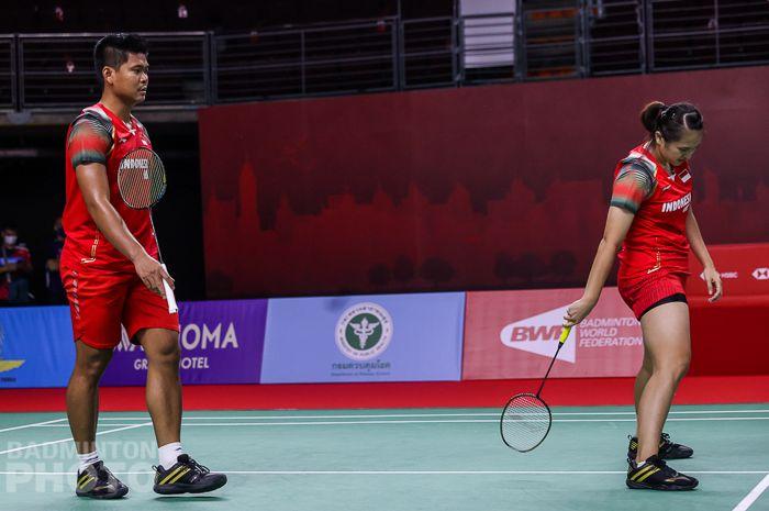 Pasangan ganda campuran Indonesia, Praveen Jordan/Melati Daeva Oktavianti, takluk pada babak pertama Thailand Open II 2021 di Impact Arena, Bangkok. Thailand, 20 Januari 2021.