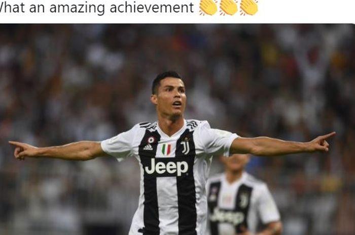 Megabintang Juventus, Cristiano Ronaldo, mencetak gol yang membuat kiper masuk gawang dan membawa dirinya menjadi manusia tertajam di bumi.
