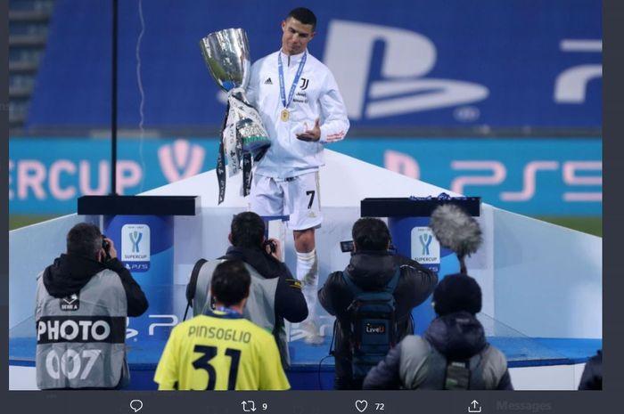 Cristiano Ronaldo membantu Juventus memenangi Piala Super Italia 2020 dengan menekuk Napoli di MAPEI Stadium, 20 Januari 2021.