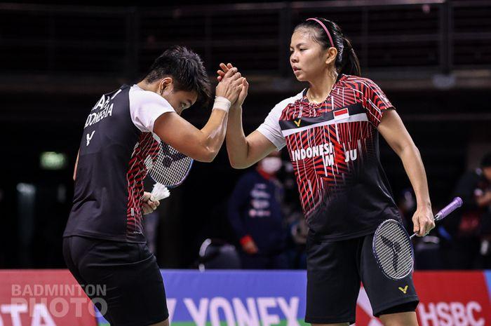Greysia Polii/Apriyani Rahayu saat tampil di perempat final Toyota Thailand Open 2021, di Impact Arena, Bangkok, Thailand, Jumat (22/1/2021).