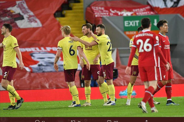 Liverpool takluk 0-1 dari Burnley dalam laga tunda pekan ke-18 Liga Inggris 2020-2021 lewat gol semata wayang Ashley Barnes via penalti.