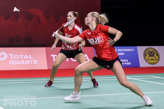 Aksi wakil Denmark, Alexandra Boje/Mette Poulsen pada babak perempat final Thailand Open II 2021, Jumat (22/1/2021)